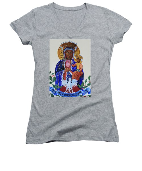 Our Lady Of Czestochowa Women's V-Neck T-Shirt (Junior Cut) by Barbara McMahon