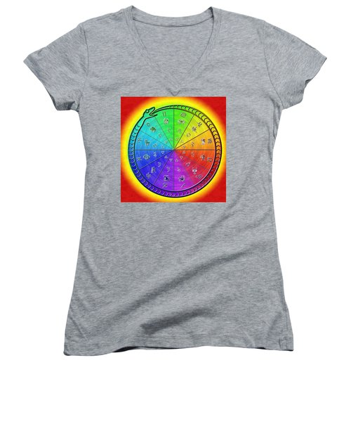 Ouroboros Alchemical Zodiac Women's V-Neck T-Shirt (Junior Cut) by Derek Gedney