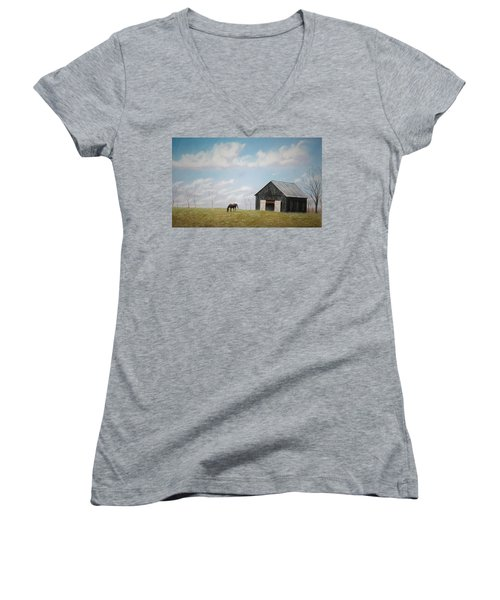 Women's V-Neck T-Shirt (Junior Cut) featuring the pastel Out For Breakfast by Stacy C Bottoms