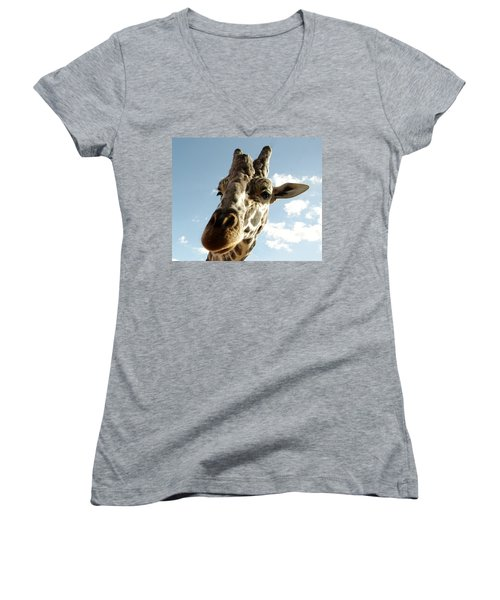 Out Of Africa  Reticulated Giraffe Women's V-Neck