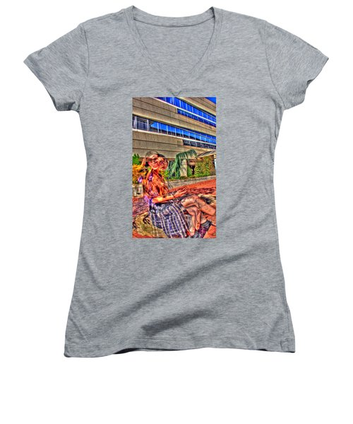 Women's V-Neck T-Shirt (Junior Cut) featuring the photograph Out Of Phase 2 by Andy Lawless