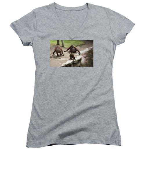Women's V-Neck T-Shirt (Junior Cut) featuring the photograph Out Of Reach by Lynn Palmer
