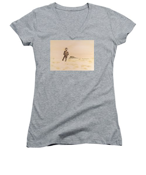 Women's V-Neck T-Shirt (Junior Cut) featuring the painting Out There by Michele Myers