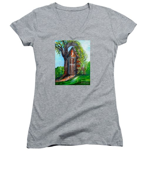 Outhouse - Privy - The Old Out House Women's V-Neck T-Shirt (Junior Cut) by Eloise Schneider