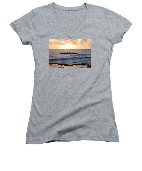 Outrigger Canoe At Sunset In Kailua Kona Women's V-Neck T-Shirt (Junior Cut) by Catherine Sherman