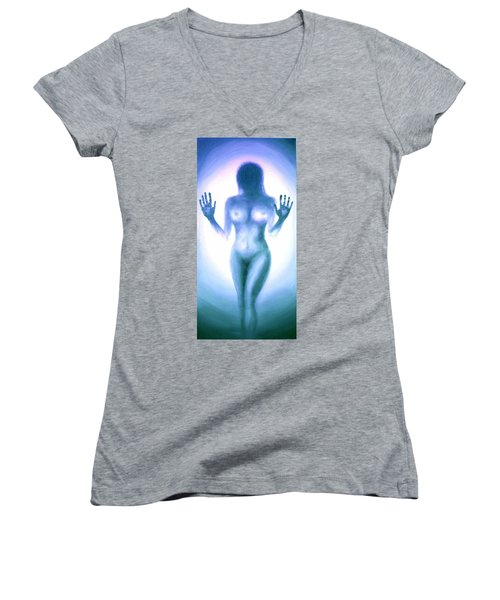 Women's V-Neck T-Shirt (Junior Cut) featuring the photograph Outsider Series - Trapped Behind The Glass - In Blue by Lilia D