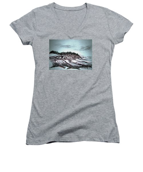 Women's V-Neck T-Shirt (Junior Cut) featuring the drawing Oven's Park Nova Scotia by Janice Rae Pariza