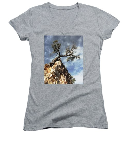 Women's V-Neck T-Shirt (Junior Cut) featuring the photograph Hung Over by Natalie Ortiz