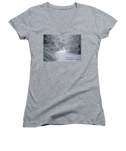 Over The River Women's V-Neck T-Shirt (Junior Cut) by John Haldane