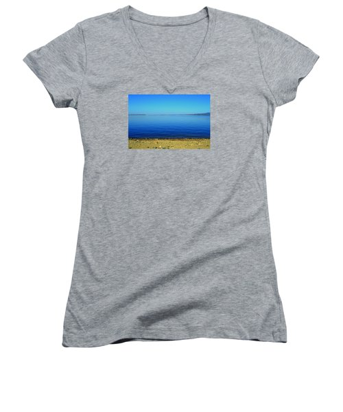 Women's V-Neck T-Shirt (Junior Cut) featuring the photograph Overflow by Rima Biswas