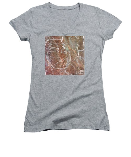 Women's V-Neck T-Shirt (Junior Cut) featuring the drawing Overlaps II by Paul Davenport
