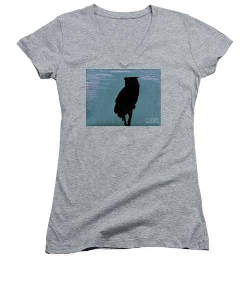Women's V-Neck T-Shirt (Junior Cut) featuring the drawing Owl Silhouette by D Hackett