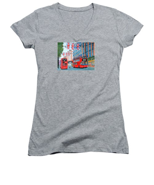 Women's V-Neck T-Shirt (Junior Cut) featuring the painting Oxford Street- Queen's Diamond Jubilee  by Magdalena Frohnsdorff