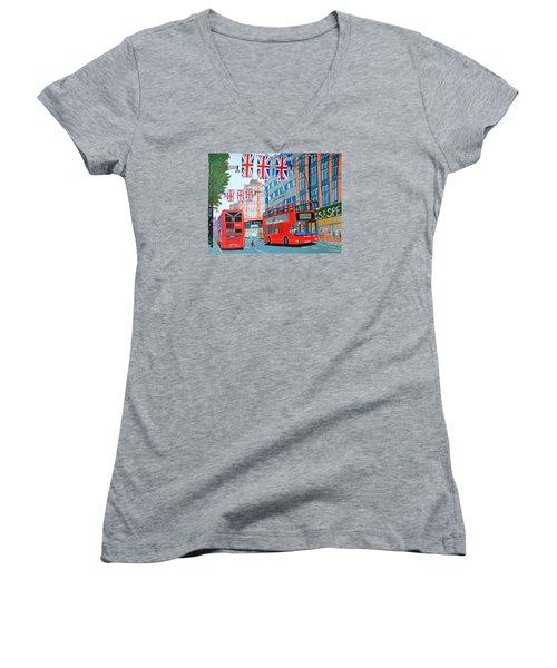 Oxford Street- Queen's Diamond Jubilee  Women's V-Neck T-Shirt (Junior Cut) by Magdalena Frohnsdorff
