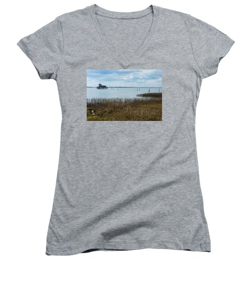 Oyster Shack And Tall Grass Women's V-Neck T-Shirt (Junior Cut) by Photographic Arts And Design Studio