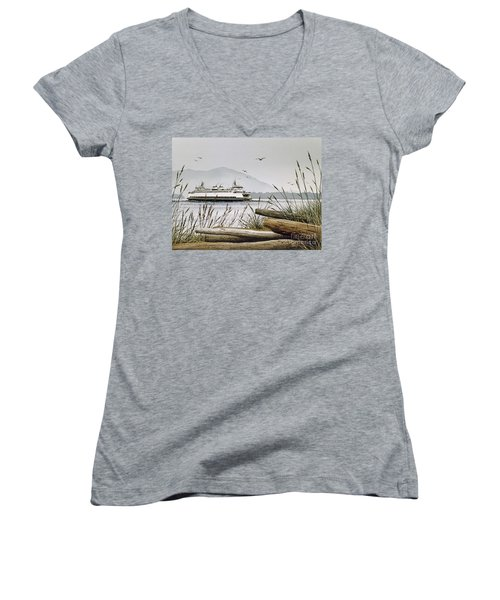 Pacific Northwest Ferry Women's V-Neck T-Shirt (Junior Cut) by James Williamson