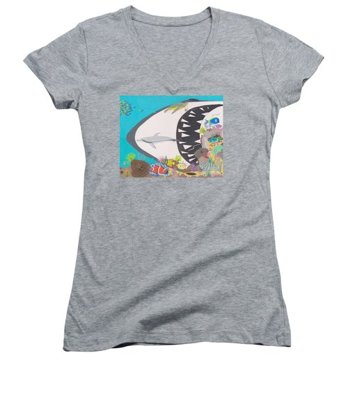 Women's V-Neck featuring the drawing Pacific Peril by John Wiegand