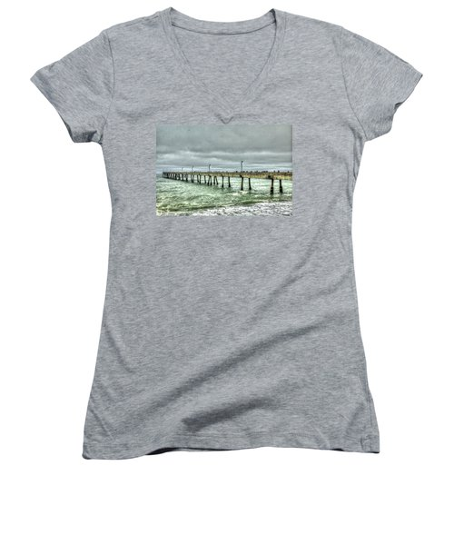 Pacifica Municipal Fishing Pier 7 Women's V-Neck (Athletic Fit)