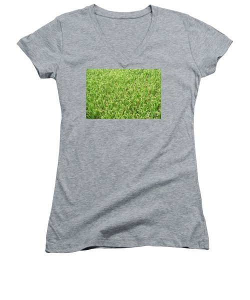 Women's V-Neck T-Shirt (Junior Cut) featuring the photograph Paddy Field by Yew Kwang