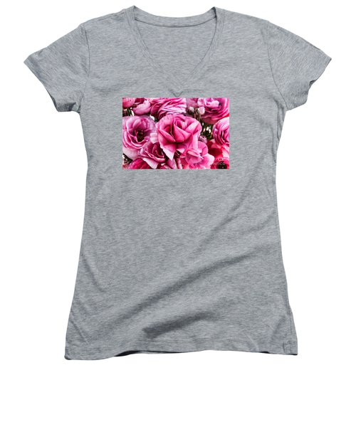 Paint Me Pink Ranunculus Flowers By Diana Sainz Women's V-Neck