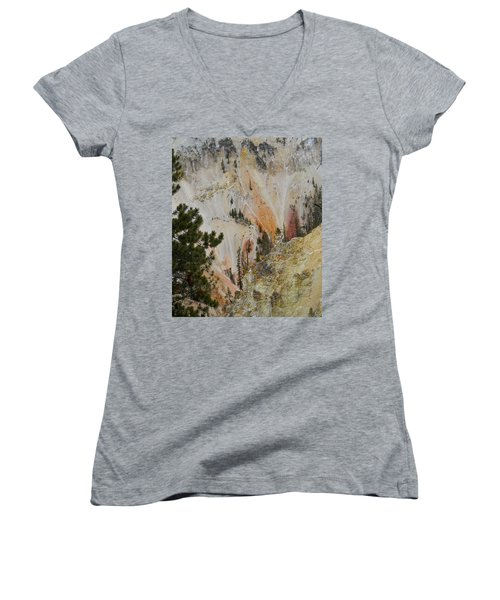 Women's V-Neck T-Shirt (Junior Cut) featuring the photograph Painted Canyon At Lower Falls by Michele Myers