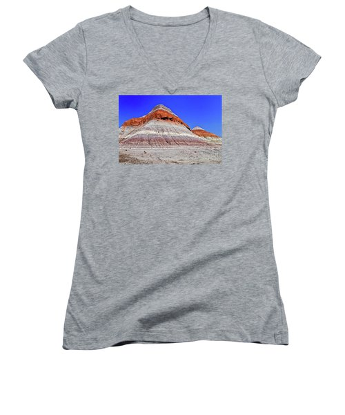Women's V-Neck T-Shirt (Junior Cut) featuring the photograph Painted Desert National Park by Bob and Nadine Johnston