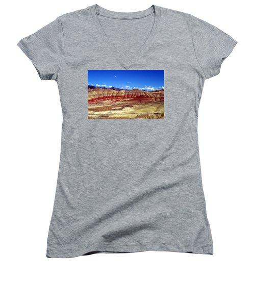 Women's V-Neck T-Shirt (Junior Cut) featuring the photograph Painted Hills by Chalet Roome-Rigdon