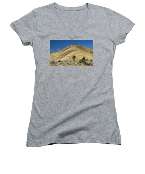 Women's V-Neck T-Shirt (Junior Cut) featuring the photograph Painted Hills by Sonya Lang