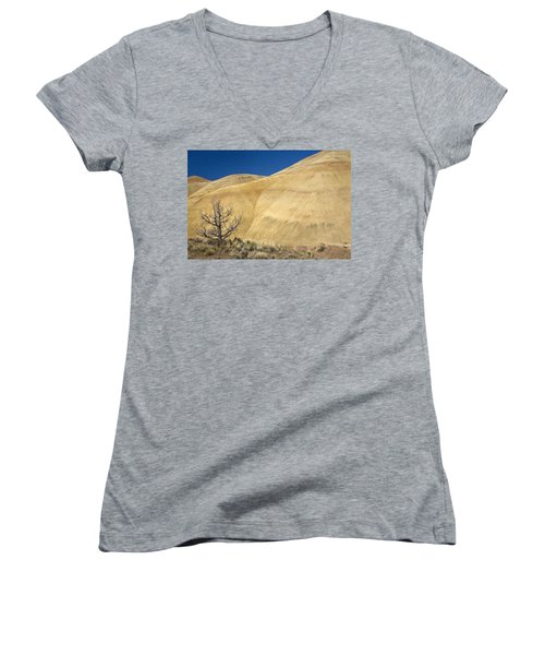 Women's V-Neck T-Shirt (Junior Cut) featuring the photograph Painted Hills Tree by Sonya Lang