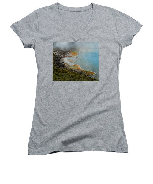 Women's V-Neck T-Shirt (Junior Cut) featuring the photograph Painted Pool Of Yellowstone by Michele Myers