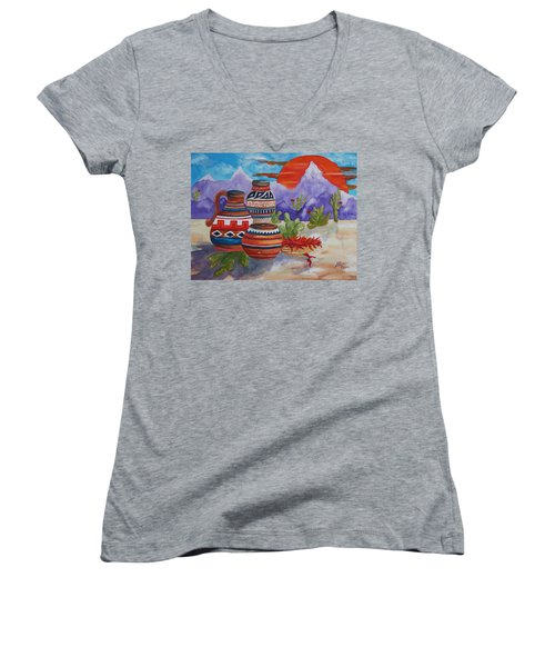 Painted Pots And Chili Peppers Women's V-Neck T-Shirt (Junior Cut) by Ellen Levinson