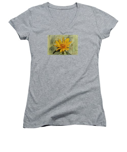 Painterly Sunflower Women's V-Neck T-Shirt (Junior Cut) by Sandi OReilly