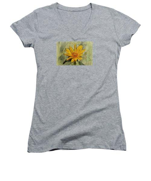 Painterly Sunflower Women's V-Neck T-Shirt