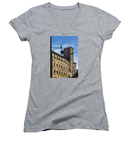 Palazzo Pretorio And The Tower Of Little Pig Women's V-Neck
