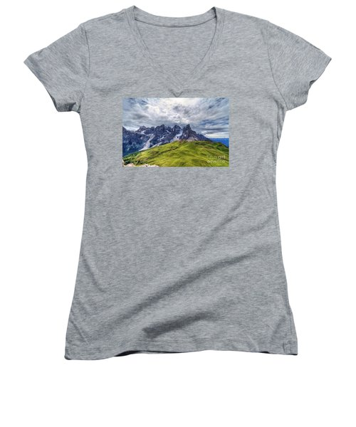 Women's V-Neck T-Shirt (Junior Cut) featuring the photograph Pale San Martino - Hdr by Antonio Scarpi