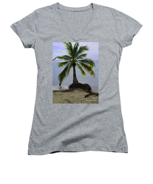 Palm At The Edge Of The Sea Number Two Women's V-Neck T-Shirt (Junior Cut) by Heather Kirk
