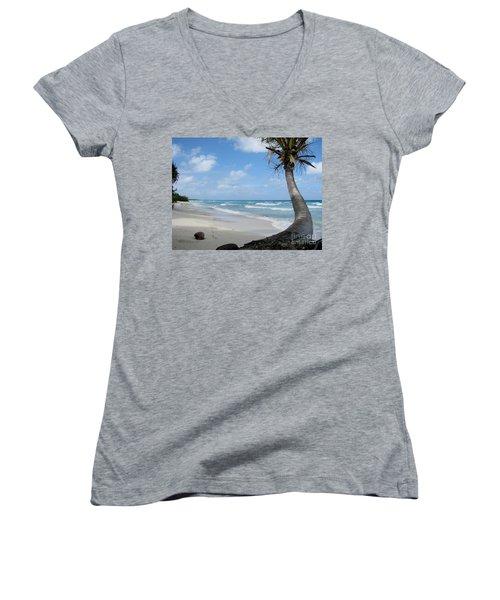 Palm Tree On The Beach Women's V-Neck