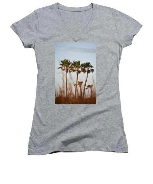 Palm Trees Through Tall Grass Women's V-Neck (Athletic Fit)