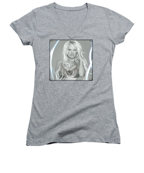 Pamela Anderson - Angel Rays Of Light Women's V-Neck T-Shirt (Junior Cut) by Absinthe Art By Michelle LeAnn Scott