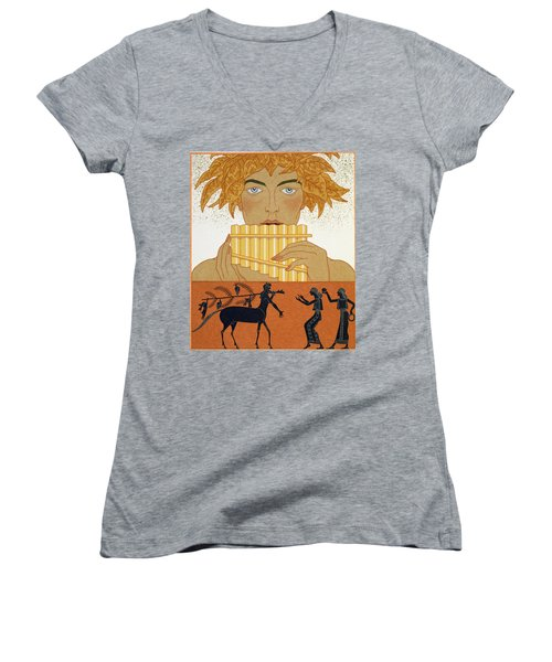 Pan Piper Women's V-Neck T-Shirt (Junior Cut) by Georges Barbier