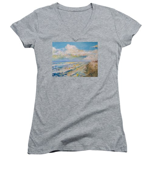 Panama City Beach Women's V-Neck T-Shirt (Junior Cut) by Alan Lakin