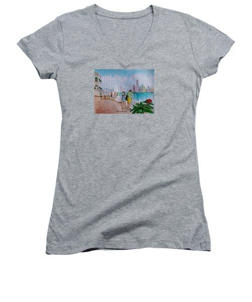 Panama City Panama Women's V-Neck T-Shirt (Junior Cut) by Frank Hunter