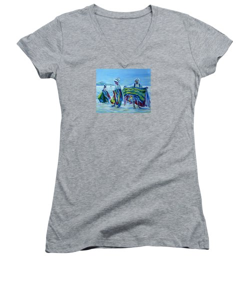 Women's V-Neck T-Shirt (Junior Cut) featuring the painting Panama.beach Market by Anna  Duyunova