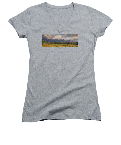 Women's V-Neck featuring the photograph Panaroma Clearing Storm On A Fall Morning In Grand Tetons National Park by Dave Welling
