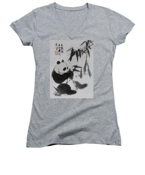 Panda And Bamboo Women's V-Neck T-Shirt (Junior Cut) by Yufeng Wang