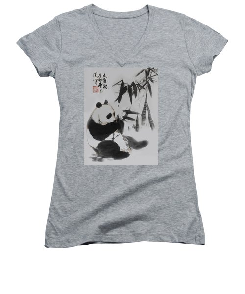 Women's V-Neck T-Shirt (Junior Cut) featuring the photograph Panda And Bamboo by Yufeng Wang