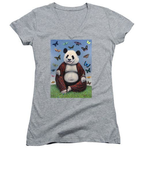 Panda Buddha Women's V-Neck T-Shirt