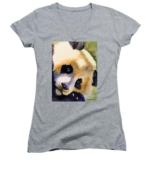 Women's V-Neck T-Shirt (Junior Cut) featuring the painting Panda Cub by Bonnie Rinier