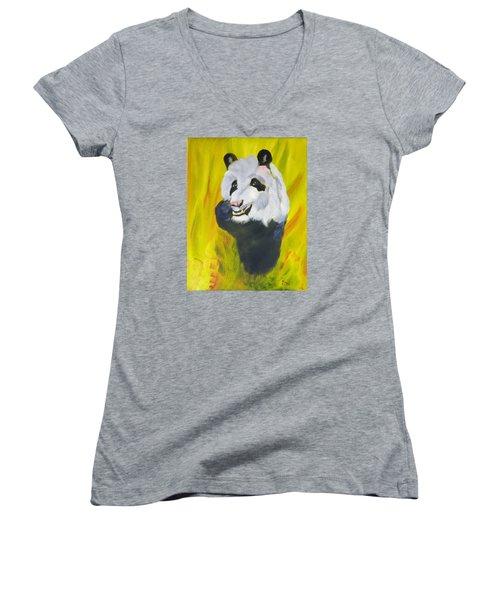 Women's V-Neck T-Shirt (Junior Cut) featuring the painting Panda-monium by Meryl Goudey