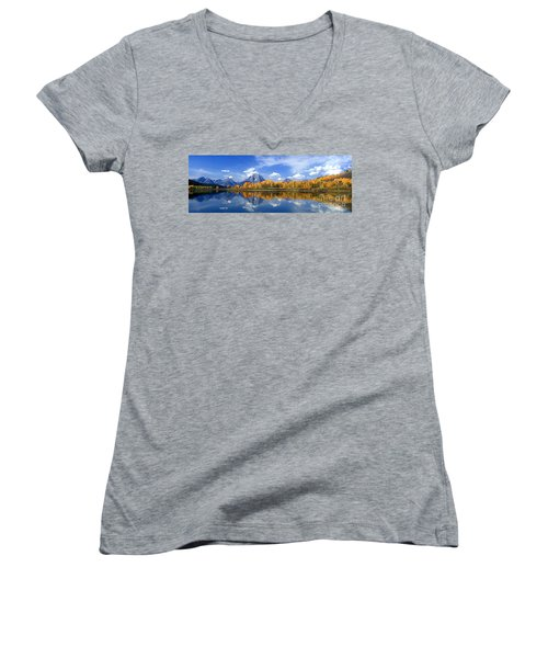 Panorama Fall Morning At Oxbow Bend Grand Tetons National Park Women's V-Neck (Athletic Fit)